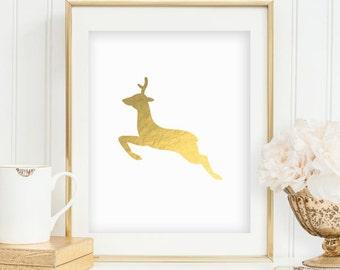 Gold Reindeer Print Deer Print Christmas Print Gold Christmas Printables Gold Foil Print Wall Art Prints Holiday Decor INSTANT DOWNLOAD 0067