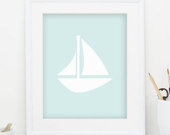 Sailboat Print Nautical Nursery Decor Sail Boat Decor Sailboat Decor Nautical Decor Blue Wall Art Sail Boat Print Digital Downlaod 0088
