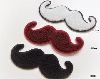 Sew On Wappen Mustache in 3 Colors