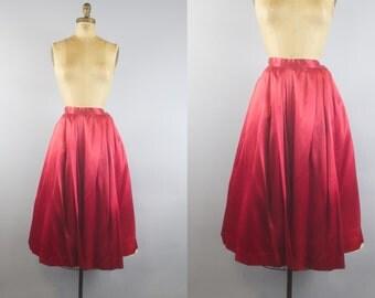 50s Red Satin Skirt / Vintage 50s Skirt / 1950s Skirt