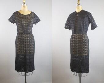 Butterfly Eyelet Dress  / 1950s Dress / 50s Black Dress w/ Jacket