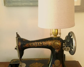Antique Singer Sewing Machine Lamp