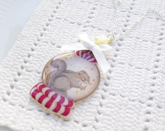 EPOXY COLLECTION:Acrylic epoxy Squirrel in crystal ball circus pendant necklace,for her,for squirrel lovers,birthday Christmas gift,squirrel