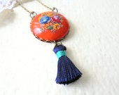 Cameo Tassel Necklace, Vintage Orange, Navy Blue Necklace,Turquoise Blue