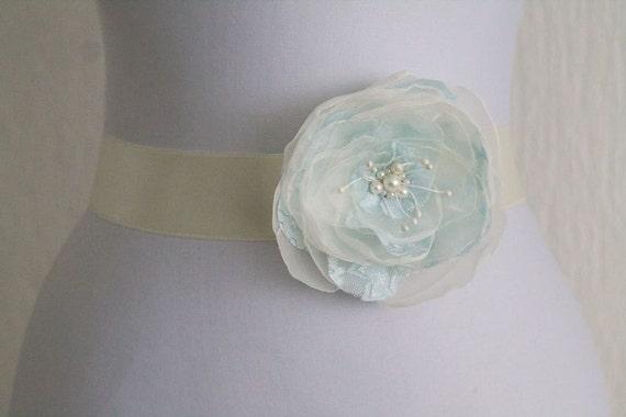 Pale Blue Flower Bridal Sash, Wedding Sash, Bridal Gown Sash, Ivory Flower Belt, Wedding Dress Sash, Formal Dress Sash, Something blue by NLcreation