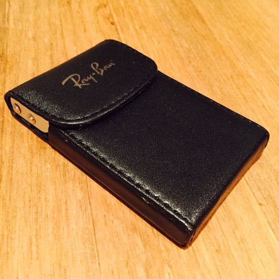 Personalized black leather business card holder case for Leather business card holder monogram