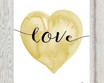 Black and gold love heart print Heart printable Gold heart Nursery heart wall art Watercolor heart Nursery art DOWNLOAD 16x20 11x14 5x7 8x10