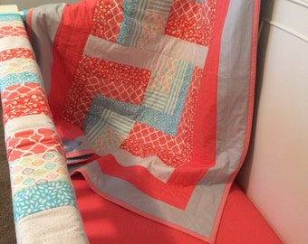 Crib Bedding Set - Crib Quilt - Teething Crib Guard - Coral & Aqua Nursery - FREE domestic shipping