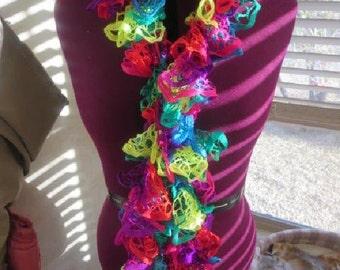 Handmade Crocheted Ruffle Scarf Multi-color Fly a Kite
