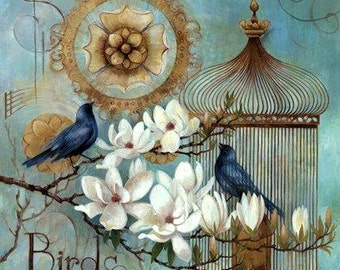 Blue Bird and Magnolia - Counted cross stitch pattern in PDF format