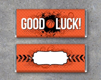 Basketball GOOD LUCK Candy Bar Wrapper - Printable Instant Download Wrapper for locker treats and pre-game goodie bags - basketball gifts
