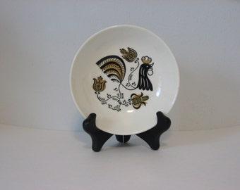 Royal china Good Morning pattern dessert dish small bowl. Black and Tan folk art rooster. 1960s china.