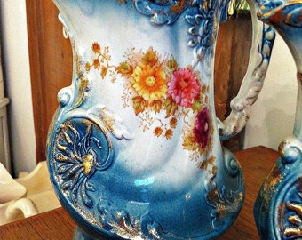 Blue Antique Victorian Water Pitchers Jugs Vases Set of 3 Graduated