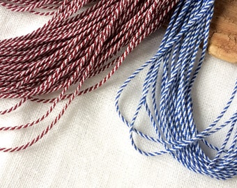 White blue string braided natural linen cord 5 yards for beach wedding decor craft projects in nautical and sailor style