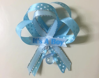 Baby Shower Guest Pin Corsage, Blue or Pink, (Set of 12 items).