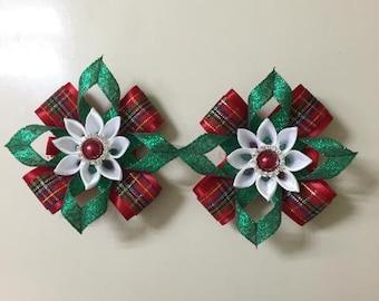Christmas hair clips - Handmade by me
