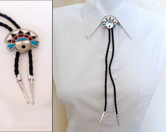 Bolo Tie, Silver Finish Hopi Tawa Sunface Kachina in Colorful Enamel, Southwestern Country Western Wear, Cowboy Necktie, ID 456896564