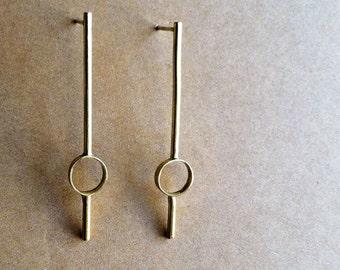 Brass Art Deco Earrings w/ Sterling Silver Posts