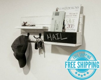 FREE SHIPPING - Modern Rustic Mail Organizer with Chalkboard - 2 Double Hooks - Reclaimed Wood Mail Slot with Key Hooks - Mail Holder