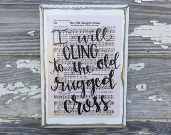 The Old Rugged Cross - Hymn Board - hand lettered wood sign