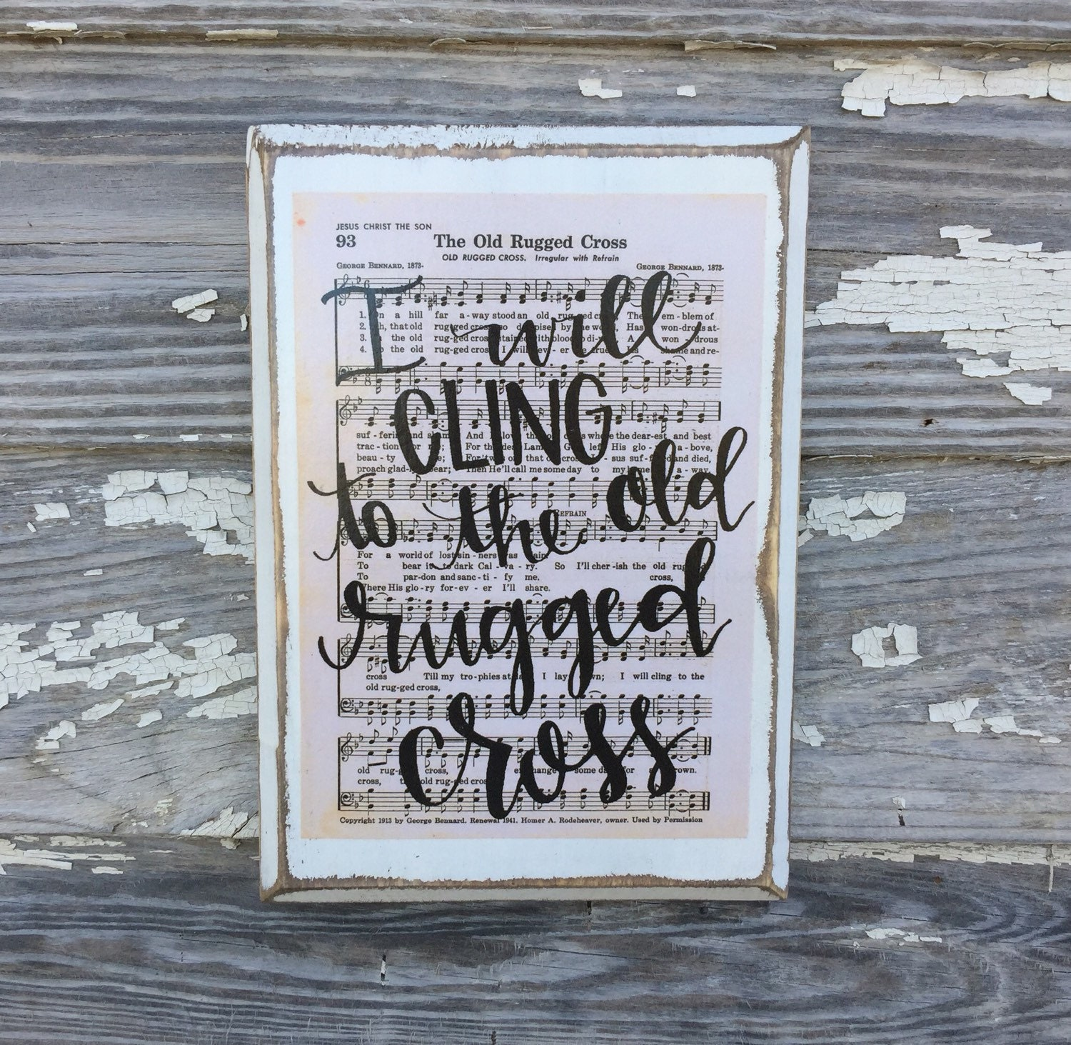 The Old Rugged Cross Hymn Board Hand Lettered By ImperfectDust