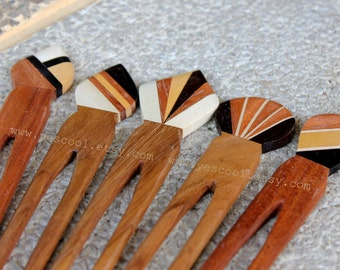 Wooden Hair Fork Natural Wood Hair Sticks Hair Pin Accessories Random Patterns Set of 5 Pcs FREE SHIPPING