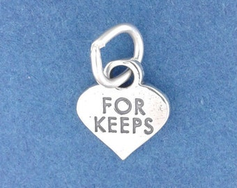 FOR KEEPS Heart Charm .925 Sterling Silver Valentine Candy Heart, Miniature Small - f5362