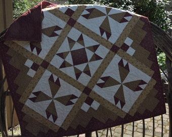 """Missouri Rosebuds and Missouri Star on this Lap Sized Quilt or Wall Hanging    41.5"""" x 41.5"""""""