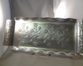 Vintage Hammered Aluminum Serving Tray, Floral Design