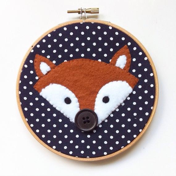 Polka dot felt fox embroidery hoop wall art hand sewn onto for Polka dot felt fabric