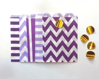 24 Purple colors Paper Bags Party Goodies Sweets in different designs with gold stickers