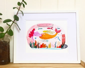 SALE - Mermaid Fishbowl giclee print - A4 210 x 297