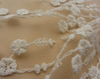 off White Lace Fabric Vintage Style little flower Lace Tulle Embroidered Lace Bridal Lace Fabric Curtain Scarf Fabric