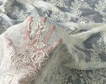 crinkle silk lace fabric,rose embroidery silk fabric,wedding dress fabric-023