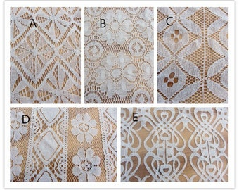 Beige cotton Lace Fabric, Embroidered lace fabric,curtain lace-1yard
