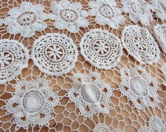 3.9ft ecru white wedding dress fabric flower embroidery cloth ,cotton Lace Fabric,ivory circle Lace fabric