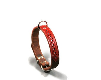 Rouxie leather dog collar, 100% leather, with stitching and a decorative red leather stripe, width 2 cm.