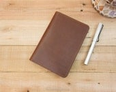 Hobonichi Techo Planner Cover, Smooth Writing Surface, Wide Interior Pockets, Refillable A6 Hobonichi Cover, Medium Brown Leather, Stitching