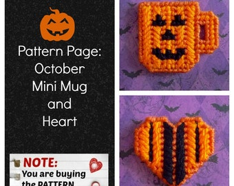 "Plastic Canvas Pattern Page: ""October Mini Mug and Heart"" (2 designs, graphs and photos, no written instructions) ***PATTERN ONLY!***"