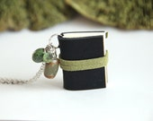 Mini Journal Necklace, Small Book Pendant, Tiny Black Book, Mini Book Necklace, Nature Lover, Leather Sketchbook, Artist Book, Memory Book