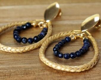 Drop Earrings Gold, Double Drop Earrings, Handwoven, Fiber Earrings, Organic Earrings, drop earrings, Aruma Fiber, Fiber Earrings