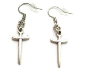 Sword Earrings  Small Dagger  Earrings Medieval Earrings Sword Jewelry Small Dagger Jewelry   Gifts Under 20