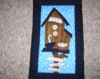 Spring quilt-small quilt for cubicle or apartment-Easter quilt-Rain quilt