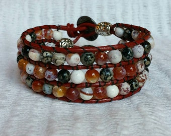 Beaded Cuff Bracelet, Spiderweb Agate