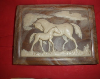 Walnut Jewerly Box Incolay Stone Cover Mare and Colt