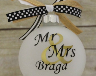 Our First Christmas Ornament First Christmas Married Mr and Mrs Christmas Ornament Monogram Personalized Christmas Ornament Black and Gold
