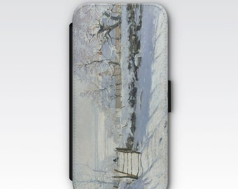 Wallet Case for iPhone 8 Plus, iPhone 8, iPhone 7 Plus, iPhone 7, iPhone 6, iPhone 6s, iPhone 5/5s, iPhone 4s -  The Magpie by Claude Monet