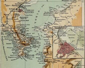 1897 Antique map of TOKYO BAY: Yokohama and Tokyo. Japan. 119 years old chart
