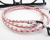 Pink Eyeglass Chain, Braided Leather Chain for Glasses, Red and Gold, Eyeglass Chain, Eyeglass Necklace Holder, by aeccentricsol