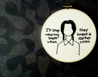 Wednesday Addams Embroidery. Hand embroidered hoop art.